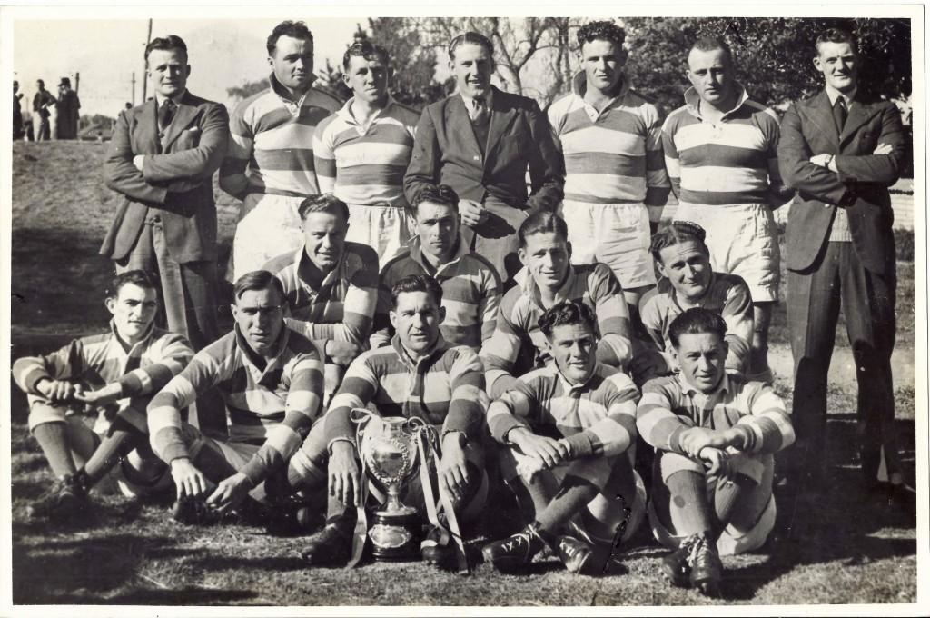 Back L-R: J Walsh, L Owens, Jack Ewen, G Briggs, Roy Faulkner, K Walsh; Middle L-R, J Bell, L Klein, Des Ewen, J Sheehan; Front L-R, Jim Crowe, A Broughton, Clem Scrivener (capt.), F Tyrell, A Kelly. Photo courtesy of Mick Ewen.