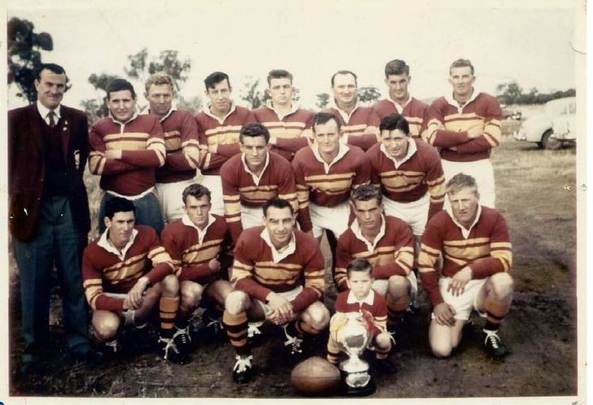 Barmedman 1962 team: Bruce Maitland (pres.), Mike Brennan, Max Gordon, Noel George, Toby Bacon, Col Quinland, David George, Malcolm Hill, Keith Woods, Ron Kelly, Harry Storm, Ken Moore, Mick George, Neville Turner (captain coach), Alec George, George Lawrence, ballboy unknown. Source: Maureen Gorham.