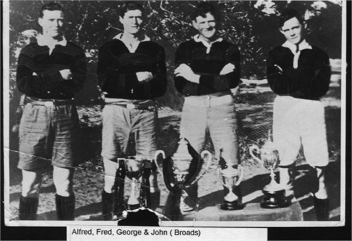 Four Broad forwards from the West Wyalong team of 1925 - Alfred, John, Fred & George. Fred in 1938 played in the same Maher Cup team as his son Baden. Baden was still playing Maher Cup in 1957.
