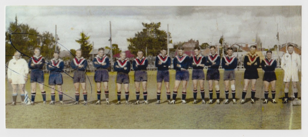 Young Maher Cup team at Cootamundra 14 August 1949. From left: Nev Hogan (captain-coach), Pat Maloney, Jack Murray, Jack Rule, Alan Hall, Tom Phillips, Jack Hall, Neville O'Malley, Dave McAlister, Colin Buchanan, Les Crowe, 'Digger' Ashton, Eric Worne, Sid Hall (linesman)