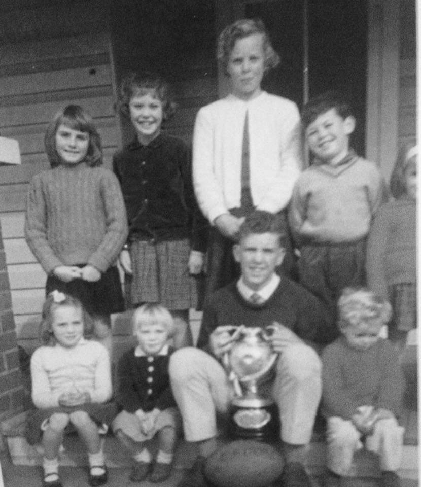The Brooke and Tranter children with the Maher Cup at Cootamundra 1965. Photo courtesy Monica Byrnes.