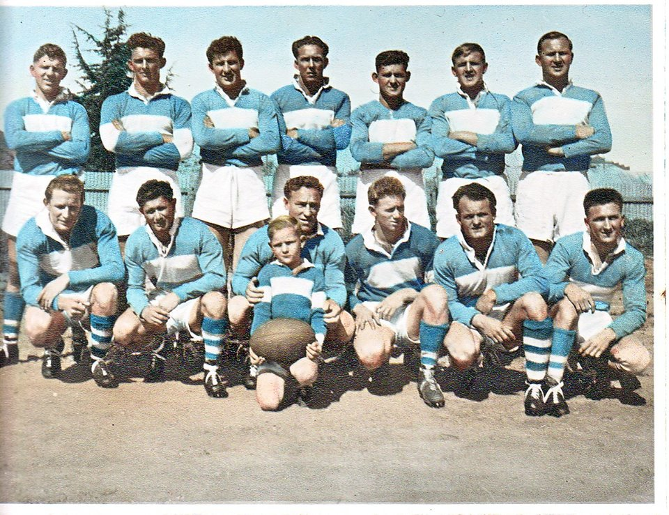 Cootamundra 1955. B-L-R.Noel Crowe, Terry Paul, Wal Galvin, Charles Sedgwick, Ted Stanton, Denis Howse, Michael Howse, F-L-R,Lal Louit, Bill Bell, Don Bowtell, Max Bell, Colin Yates, Lorry Thomas, Ball Boy Barry Fuller. Source: Lola Bell via Cootamundra Remembers of Facebook