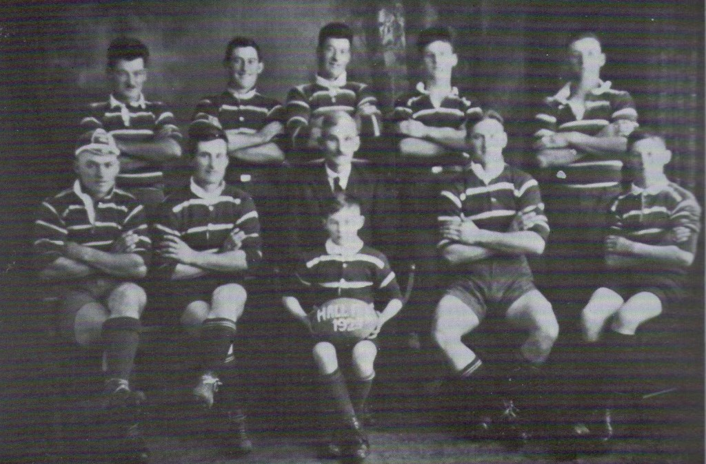 The famous Hall Family of footballing brothers from Young taken in 1939. Back from Left: Bob (1899-1975); Norman (Ben) (1908-1987); Walter (1898-1981); Roy (1913-1981); Tom (1906-1956); Front: Sid (1902-1995); Jim (1896-1971); Jim Hall senior; Abe (1912-1950); Dave (1916-2012); with Clem (1919-1997) with the ball. Seven played Maher Cup: Abe, Ben, Bob, Roy, Sid & Tom for Young, and Dave for Bendick Murrell.