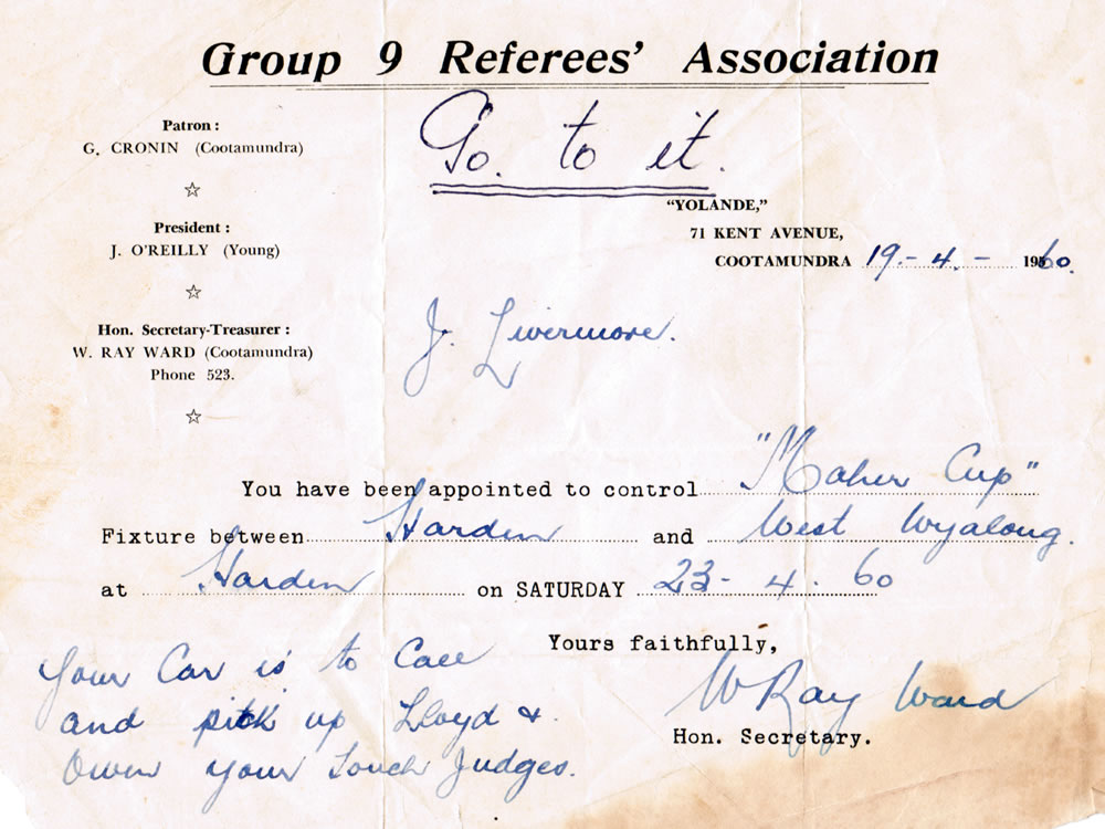 Instructions to Jack Livermore for the Harden Wyalong game of 23 April 1960. Livermore and Ray Ward had both been prominent players.
