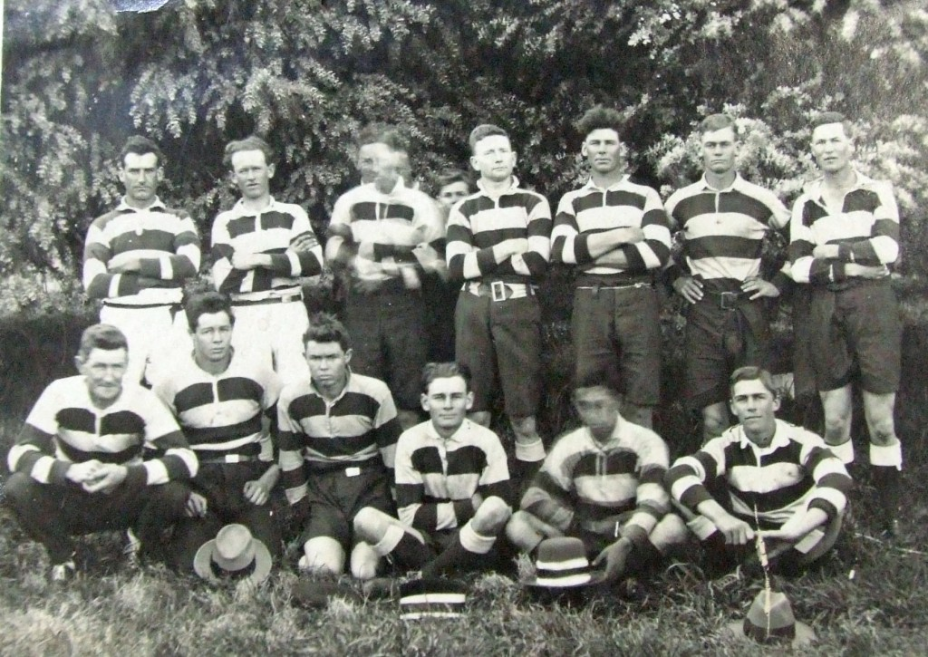Gundagai Rovers 1922 ; back row -Henry Manning, Alan Rolles, Jack Brooke, Jack Webb, Les Smith, Perce Smith, Harry Hourn ; front row - George Wheatley, Roy Field, Alan Field, Claude Smith, Joe McGuire, J. McInerney