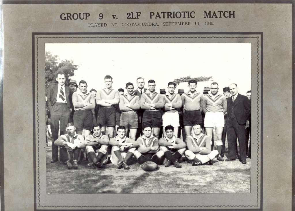 As the war got underway rugby league was conscious to be seen as conscientious. The 2LF here is from back left to right: Pat Ryan of Young who gave his name to a kicking competition, Col Hargreaves (Tumut), F. Schultz (Harden), L. Faint (Harden), 2LG general manager G.M.W. Allen, Billy Edwards (Harden), Des Ewen (Coota), Bill Bray (Wyalong), Roy Faulkner (Coota), Guy Gray of Coota - sprint comp. named after him, front row - Jack Ritchens (Young), Clem Scrivener (Coota), Jim Crowe (Coota), Bill Kearney (Young), T. Freney (Young), J. Walsh (Coota).