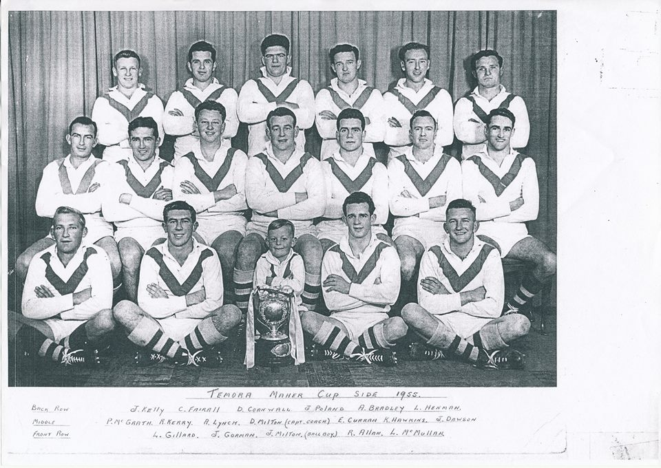 Temora team of 1953 with the Maher Cup. Source: Temora Dragons Rugby League Club via Facebook