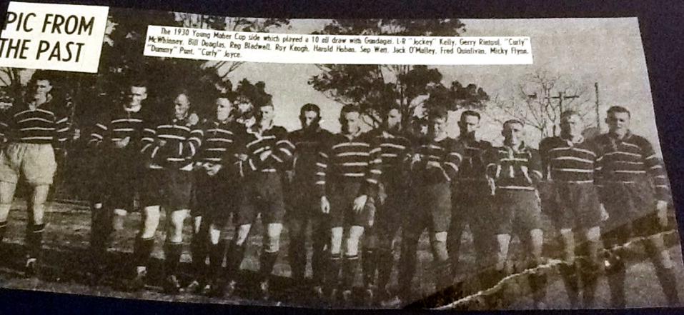 "Young team that drew with Gundagai in 1930. Left to right: ""Jockey"" Kelly, Gerry Rintoul, ""Curly"" McWhinney, Bill Douglas, Reg Bladwell, Roy Keogh, Harold Hoban, Sep Watt, Jack Malley, Fred Quinlivan, Micky Flynn, ""Dummy"" Punt, ""Curly"" Joyce"