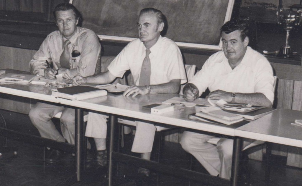 The Group 9 committee: Wal Galvin (secretary). Frank Devlin of Temora, (president), and John Hill of Young (treasurer).